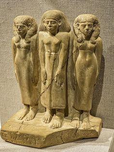 Family of Three Egypt Middle Kingdom 12th-13th Dynasty 1850-1750 BCE Limestone   by mharrsch
