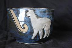 Midnight blue glaze/flashes of black with a white llama. Llama Arts, Yarn Bowl, Pottery Ideas, Knitting Needles, Midnight Blue, Crochet Hooks, Glaze, Camel, Whimsical
