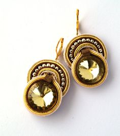 Small soutache earrings Gold earrgins Earrgins with