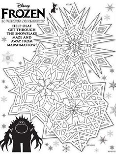 Disney's FROZEN – Snowman, Maze and Matching Game Activity Sheet Printables