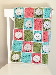 Crochet Baby Blanket Pattern - Crochet Sheep Baby Blanket - Easy Crochet Patterns by Deborah O'Leary Crochet Sheep, Baby Afghan Crochet, Baby Afghans, Crochet Baby Booties, Baby Blankets, Crocheted Blankets, Irish Crochet, Crochet Yarn, Basic Crochet Stitches