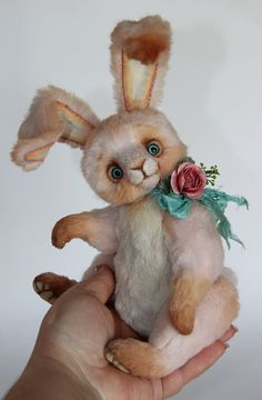 Vintage Spool Of Thread Handmade Wool Bunny Stuffed Rabbit Other Artist Plush Bears Easter Spring Gift.