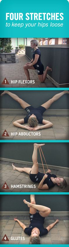 """""""Four stretches to keep your hips loose"""" Cassie recommends these four stretches to improve agility, relieve muscle tightness, and increase flexibility. Following these deep stretches, grab a glass of chocolate milk to help your body refuel, repair and rehydrate. Your muscles will thank you."""