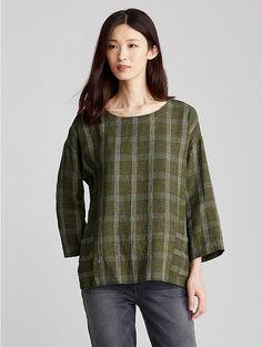 Eileen Fisher Organic Linen Plaid Top