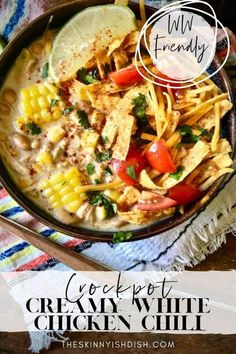 This easy Crockpot Creamy White Chicken Chili is the best recipe to assemble in the morning for a delicious dinner by night. I've put my lightened up spin on this tasty recipe for a more healthy option for dinner tonight! #whitechickenchili #chickenchili Slow Cooker Recipes, Crockpot Recipes, Chicken Recipes, Cooking Recipes, Ww Recipes, Soup Recipes, Creamy White Chicken Chili, White Chili, Healthy Baked Chicken