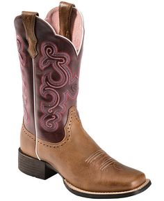 Ariat Quickdraw Plum Fancy Stitched Cowgirl Boots - Square Toe