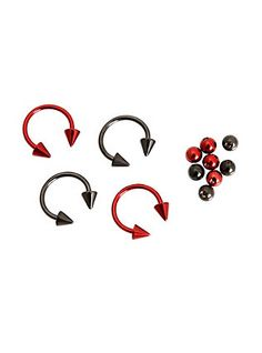 This surgical steel diameter circular barbell 4 pack includes 2 red and 2 black hoops plus 4 red beads, 4 black beads, 4 red spikes and 4 black spikes. Body Jewellery, Black Jewelry, Metal Jewelry, Beading Jewelry, Jewlery, Jewelry Accessories, Piercings, Septum Piercing Jewelry, Lip Piercing