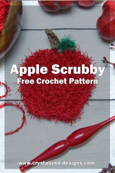 September Scrubby! Love your kitchen with this Apple shaped scrubby! Whether it's your dishes, counter, or for cleaning appliances, this scrubby will get the job done right! Scrubby Yarn, Crochet Scrubbies, Double Crochet, Single Crochet, Knitting Patterns, Crochet Patterns, Crochet Ideas, Crochet Apple, Yarn Needle