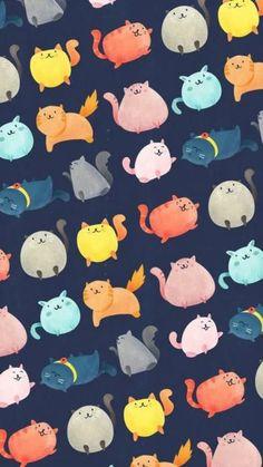 Wallpaper iphone cartoon cat New ideas Cat Pattern Wallpaper, Cute Cat Wallpaper, Kawaii Wallpaper, Cute Wallpaper Backgrounds, Cute Cartoon Wallpapers, Galaxy Wallpaper Iphone, Cartoon Wallpaper Iphone, Wallpaper Wallpapers, Wallpaper Gatos