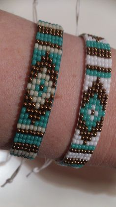 Loom beaded bracelet with waxed cord by Suusjabeads on Etsy https://www.etsy.com/listing/222002681/loom-beaded-bracelet-with-waxed-cord