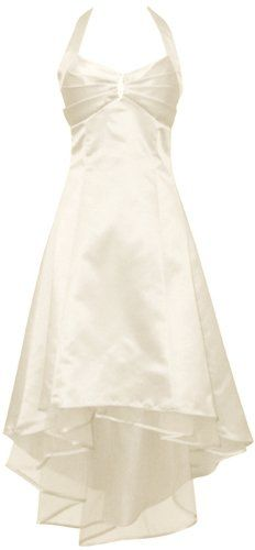 Amazon.com: Satin Halter Dress Tulle Mini Train Prom Bridesmaid Holiday Formal Gown Junior Plus Size, , Ivory: Clothing
