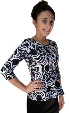 Ponte Roma Peplum Top - Black/White Swirls - $22.00 :: DCM Apparel - Modern Modest Clothing