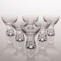 "six sherry glasses, ""Tapio"", Iittala, the latter half of the century. Cup Design, Glass Design, Design Art, Cut Glass, Glass Vase, Sherry Glasses, Kosta Boda, Glass Artwork, Scandinavian Art"