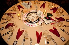 Table Setting From the Alice in Wonderland Wedding at the Hotel Boulderado (Photo by Frances Photography)