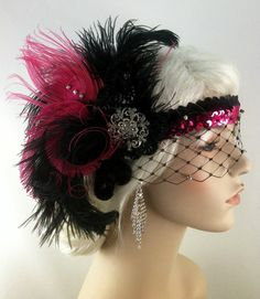 Flapper Headband,1920s Head Piece, Art Deco Headband, Pink Peacock Feather, Black Ostrich Plumes, Black Sequins, Veil. $135.00, via Etsy.