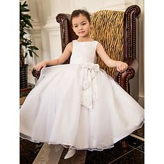 A-line Square Tea-length Satin And Oganza Wedding/Party Flower Girl Dress(More Colors) – EUR € 77.36