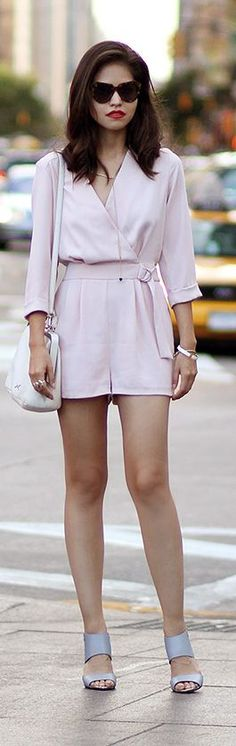 Light Pink Belted Taylor Chiffon Romper by Fake Leather