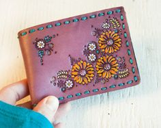 Custom Leather Slim Card Wallet Sunflowers and by MesaDreams
