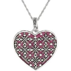 Genevieve & Grace Sterling Silver Necklace Marcasite and Purple Epoxy... ($55) ❤ liked on Polyvore featuring jewelry, necklaces, sterling silver pendant, heart shaped jewelry, purple pendant, purple jewellery and heart pendant