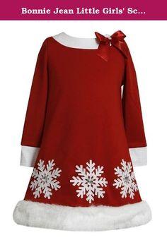 0db9a5655ffb1 Bonnie Jean Little Girls' Scuba Santa Dress, Red, Snowflake appliques.  Satin bow at shoulder.