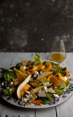Pear and pickled butternut salad with goats cheese and honey pumpkin seeds.
