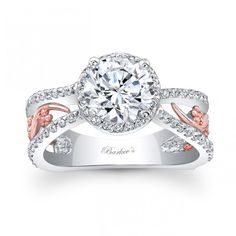 This bold two tone split shank halo engagement ring features a prong set round diamond center. The center halo and shoulder ridges are graced with shared prong set diamond, while a rose gold filigree adorns the center sides for a touch of drama. Two Tone Engagement Rings, Engagement Ring Buying Guide, Gemstone Engagement Rings, Rose Gold Engagement Ring, Halo Engagement, Wedding Rings Rose Gold, Wedding Ring Bands, Bridal Rings, Bridal Jewelry