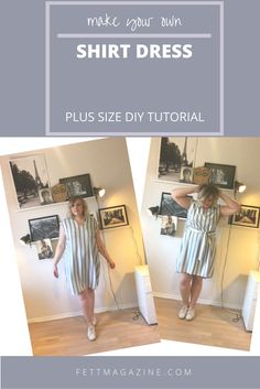 Plus size DIY. Shirt dress.