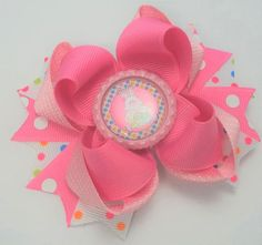 Pink Easter Bunny Hair Bow Handmade Easter by JustinesBoutiqueBows