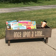 Once Upon a Time Book Bench, Rustic, Book Storage, Book Bin, Nursery Book Storage, Kids Books