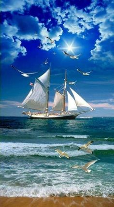 Cruise Ship Gambling: Everything You Need and Want to Know Beautiful Nature Wallpaper, Beautiful Landscapes, Old Sailing Ships, Sailing Cruises, Ship Paintings, Boat Art, Boat Painting, Artist Painting, Tall Ships