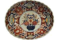 Unusual antique oval Imari bowl made in Japan about 1880