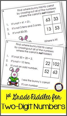 Your first graders will love solving the mystery of where the bunny hid his carrot! This set of 24 task cards will build first grade skills in operations and place value.  A student recording page and answer key are included. Math skills addressed in this set include adding and subtracting one-digit and two-digit numbers, with no regrouping, comparing numbers using symbols, and distinguishing even and odd numbers. A fun and easy addition to your spring math centers!