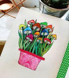 mushroom simple watercolor mushrooms drawing yesterday doodles
