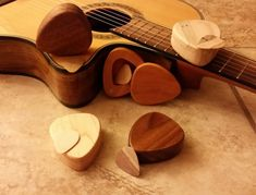 Wood Guitar Pick Box and Pick Hand Made Custom Wood Guitar