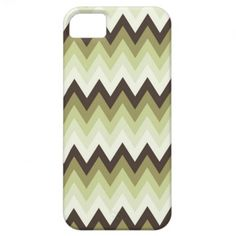 Modern and trendy iPhone 5 phone case features pastel green and brown zigzag chevron stripe pattern. Cute and unique design and a perfect cool gift idea for her / him or anyone on any occasion