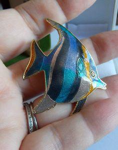 Vintage Gold Tone Black Lavender Blue Enamel Coral Reef Angel Fish Brooch