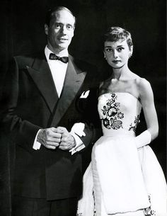 Audrey Hepburn and Mel Ferrer attending the Netherlands' premiere of Sabrina, November 1954.  Audrey Hepburn was wearing Givenchy.
