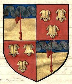 """Armes d'alliance imaginaire des Pichelin (f°43). -- «Extraict de la généalogie de la famille des Pichelins, faiz vertueulx et chevaleureux d'iceulx», par Jean-Baptiste de Pichelin, sgr de Villemanoche, 1501-1600 [BNF Ms Fr Français 6018]. -- """"de gueules à trois grenouilles d'or"""" : armes des Scythes (!)"""