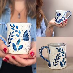 Hand Painted Fabric, Hand Painted Mugs, Painted Cups, Hand Painted Ceramics, Pottery Place, Pottery Mugs, Pottery Art, Pottery Painting Designs, Paint Designs