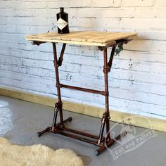 FREE DELIVERY. Made to Order - Pallet Wood Standing Desk For Sale. Modern Loft Style Office Furniture made from recycled Pallet Wood and Thin Gauge