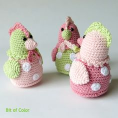 Bit of Color Crochet Birds, Easter Crochet, Crochet Animals, Crochet Toys, Crochet Baby, Knit Crochet, Crochet Christmas Trees, Holiday Crochet, Amigurumi Patterns