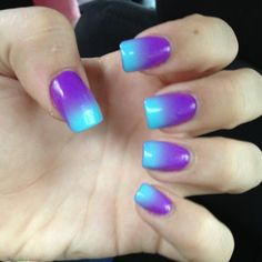 Teal and purple nail designs are on the rise in fashion. It is undoubtedly one of the most popular artificial nail designs. You will find that a large number of nail designs can be selected, along with low-key, simple designs, exuding retro elegance Nail Art Designs, Purple Nail Designs, Creative Nail Designs, Creative Nails, Bright Nails, Gradient Nails, Acrylic Nails, Galaxy Nails, Purple Ombre Nails
