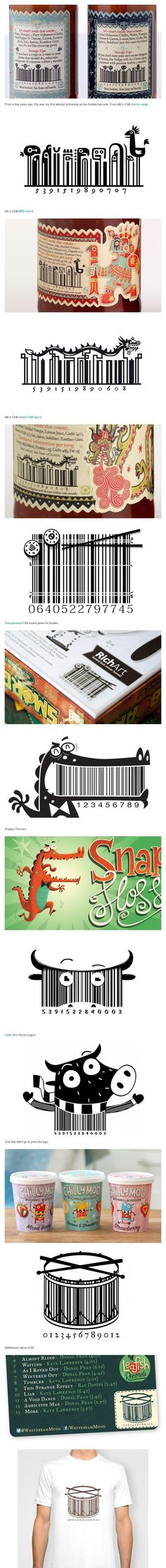 Having fun with Barcodes (UPC) Barcode Art, Barcode Design, Graphic Design, Packaging Design Inspiration, Design Packaging, Black And White Doodle, Clever Design, Visual Identity, Book Design