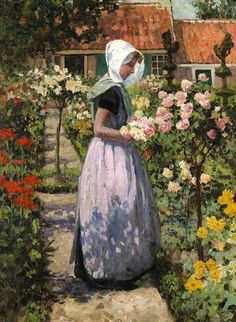 Portrait of a Dutch woman in a garden by George Hitchcock