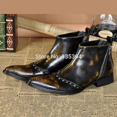 87.50$  Watch now - http://ali7tk.worldwells.pw/go.php?t=32790943436 - 2017 Fashion Men Rivets Real Leather Autumn Winter Ankle Boots Pointed Toe Shoes Wedding Dress Shoes Men Motorcycle boots 38-46