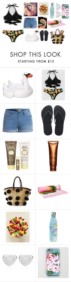 """""""Summer"""" by a-angel ❤ liked on Polyvore featuring Sunnylife, Pieces, Havaianas, Sun Bum, Clarins, Soeur Du Maroc, Dolce&Gabbana, S'well and Dinny Hall"""