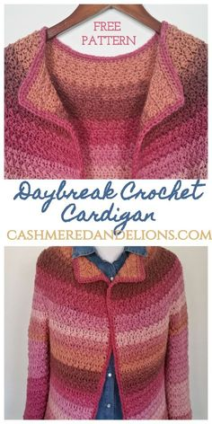 Daybreak Crochet Cardigan : Free and easy crochet pattern for a top down, seamless cardigan, sizes S-XL. Crochet Coat, Crochet Shirt, Crochet Clothes, Easy Crochet, Crochet Sweaters, Crochet Cardigan Pattern Free Women, Knit Cardigan Pattern, Crochet Pattern, Free Pattern
