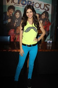 """Victoria Justice is """"Victorious"""" in style with a bright mustache top!"""