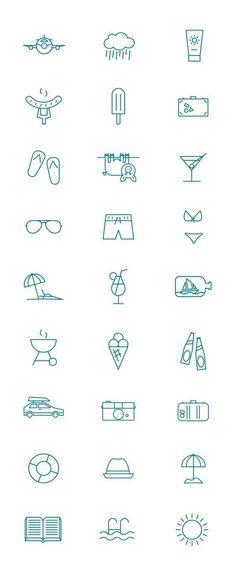 Summer pictogram by Kenneth Knudsen, via Behance in Summer