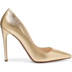 Prada Metallic textured-leather pumps (26,620 PHP) via Polyvore featuring shoes, pumps, gold, pointy shoes, pointy-toe pumps, high heel pumps, metallic slip on shoes and prada